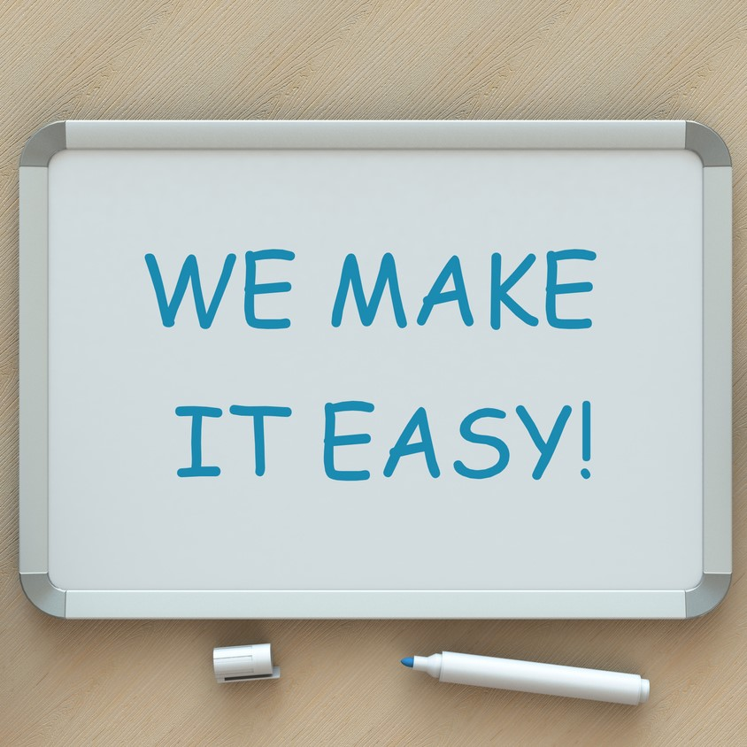 WE MAKE IT EASY!, message on whiteboard