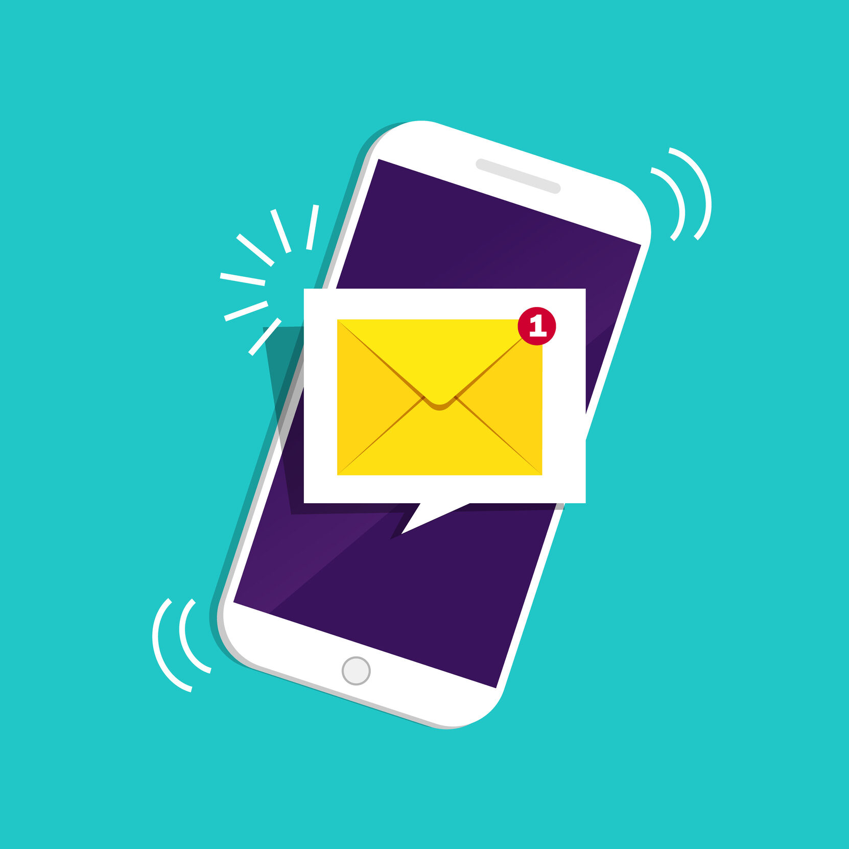 Smartphone with notification sms on screen.Alert of new message mail on mobile phone. Unread sms message on screen of cellphone. Reminder inbox notice. 3d flat design vector illustration